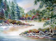 Deb Ronglien Watercolor Prints - A Summer Place Print by Deborah Ronglien