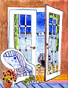 French Doors Prints - A summers afternoon Print by Connie Valasco