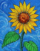 Cuban Mixed Media - A Sunflower by Juan Alcantara