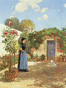 Vines Painting Posters - A Sunny Morning Poster by Childe Hassam
