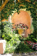 Gardenscapes Painting Framed Prints - A Sunny Nook Hotel Bel - Air Framed Print by David Lloyd Glover