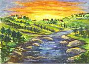 Orchards Drawings Prints - A Sunset In Wine Country Print by Carol Wisniewski