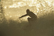 Silhouettes Metal Prints - A Surfer Surrounded By The Spray Metal Print by Tim Laman