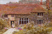Basket Posters - A Surrey Cottage Poster by Helen Allingham
