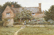 Building Exterior Posters - A Surrey Cottage with a Mother and her Children Poster by Helen Allingham