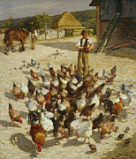 Chickens Prints - A Sussex Farm Print by Henry Herbert La Thangue