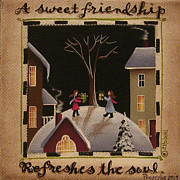 Primitive Painting Framed Prints - A Sweet Friendship  Winter Framed Print by Catherine Holman