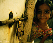 A Sweet Smile Beyond Door Print by Vipul Kamble