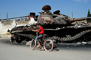 A Syrian Boy On His Bicycle In Front Print by Andrew Chittock
