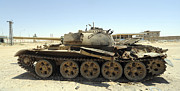 Libyan Framed Prints - A T-55 Tank Destroyed By Nato Forces Framed Print by Andrew Chittock