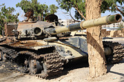 Libyan Framed Prints - A T-72 Tank Destroyed By Nato Forces Framed Print by Andrew Chittock