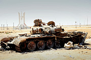 Muammar Gaddafi Prints - A T-80 Tank Destroyed By Nato Forces Print by Andrew Chittock