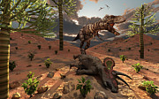 Food Chain Digital Art Posters - A T-rex Comes Across The Carcass Poster by Mark Stevenson