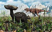Ankylosaurus Prints - A T. Rex Confronts An Ankylosaurus Print by Mark Stevenson