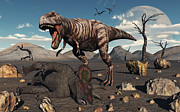 Survival Digital Art Prints - A T. Rex Is About To Make A Meal Print by Mark Stevenson