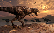 Parasaurolophus Prints - A T-rex Plans His Attack On A Herd Print by Mark Stevenson