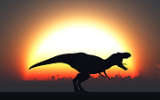 Aggressive Digital Art - A T. Rex Silhouetted by Mark Stevenson
