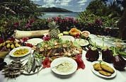 Pineapple Prints - A Table Spread With Fruit And Seafood Print by Bill Curtsinger
