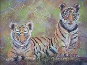 Cubs Pastels Posters - A Tail for Two Tigers Poster by Jackie  Hill