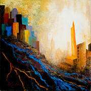 Skyscrapers. Painting Posters - A Tale of Three Cities Poster by Larry Martin