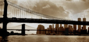 Brooklyn Bridge Posters - A Tale of Two Bridges Poster by Joann Vitali