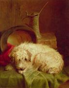 Animal Portrait Paintings - A Terrier by John Fitz Marshall