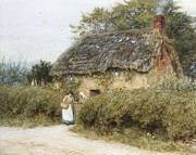 Country Cottage Framed Prints - A Thatched Cottage near Peaslake Surrey Framed Print by Helen Allingham