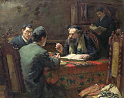 Rabbi Paintings - A Theological Debate by Eduard Frankfort