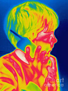 Phone Conversation Posters - A Thermogram Of A Boy Talking Poster by Ted Kinsman