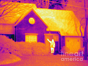 Greet Posters - A Thermogram Of A Man Waving Poster by Ted Kinsman