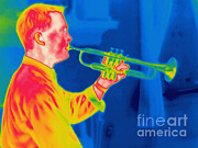 Blows Posters - A Thermogram Of A Musician Playing Poster by Ted Kinsman