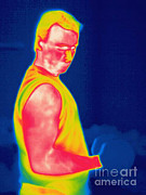 Body Builder Framed Prints - A Thermogram Of A Weight Lifter Framed Print by Ted Kinsman