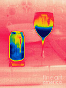 Soda Can Posters - A Thermogram Of Cool Wine And Cool Soda Poster by Ted Kinsman