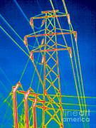 Transmission Prints - A Thermogram Of High Voltage Power Lines Print by Ted Kinsman