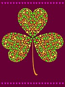 Art And Craft Digital Art - A Three Leaf Clover Made Of Smaller Hearts by Elmira Amirova