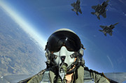 Self-portrait Photo Metal Prints - A Three-ship Formation Of F-15e Strike Metal Print by Stocktrek Images
