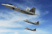 Training Prints - A Three-ship Formation Of F-22 Raptors Print by Stocktrek Images