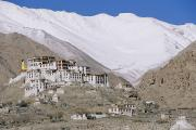 Tibet Framed Prints - A Tibetan Temple Is Built Atop A Hill Framed Print by Monika Klum