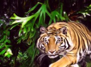 Digital Images Prints - A Tiger is stalking you Print by Garry Staranchuk