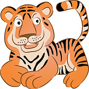 Tiger Illustration Prints - A Tiger Print by Wolfgang Herzig