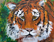Extinct Animals Painting Posters - A Tigers Gaze Poster by Leayn Hochstine