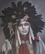 Feathered Hat Paintings - A Time Of Honor by K Henderson by K Henderson