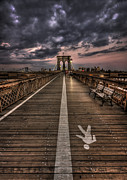 Brooklyn Bridge Prints - A Touch Of Evening Glow Print by Evelina Kremsdorf