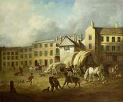 Eighteenth Century Framed Prints - A Town Scene  Framed Print by George Garrard