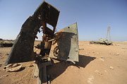 Libyan Framed Prints - A Tracked Artillery Vehicle Destroyed Framed Print by Andrew Chittock