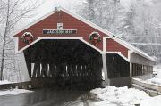 Covered Bridge Photo Framed Prints - A Traditional Covered Bridge On A Snowy Framed Print by Tim Laman