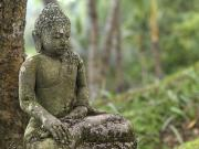 Stone Carvings Prints - A Tranquil Seated Buddha Statue Print by Justin Guariglia