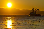 Trawler Metal Prints - A Trawler at Sunset Metal Print by Tim Grams