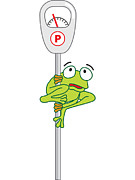 Distraught Prints - A Tree Frog On A Parking Meter Where A Tree Used To Be Print by Berene Campbell