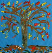 Colors Of Autumn Painting Posters - A Tree of Autumn Leaves Poster by Mary Carol Williams